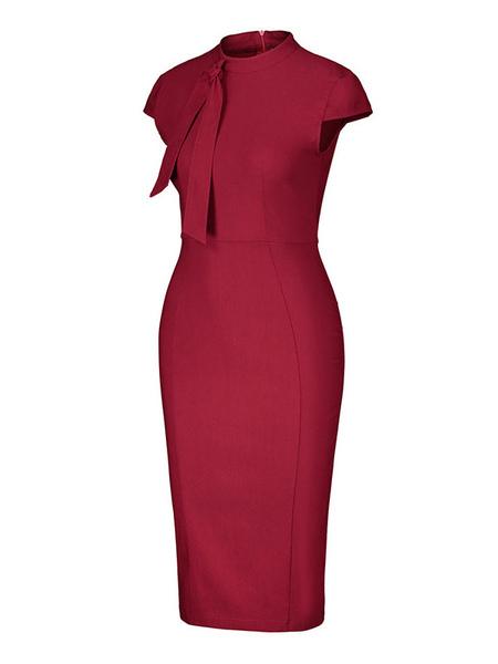 Bodycon Dresses Red Short Sleeves High Collar Slim Fit Dress Sheath Dress Office Pencil Dress