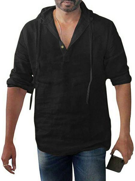 Chemise dcontracte capuche Chemises dcontractes noiress - Milanoo FR - Modalova