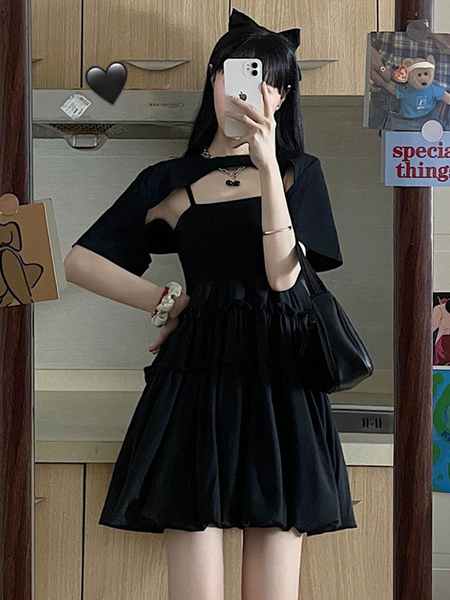 Clothing & Accessories Gothic Lolita JSK Dress 2-Piece Set Black Sleeveless Ruffles Polyester Cover-Up Lolita Jumper Skirt Outfit