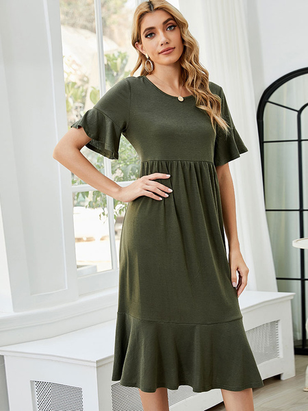 Clothing & Accessories|Yoga Olive Shift Dresses Charming Jewel Neck Short Sleeves Polyester Tube Dress
