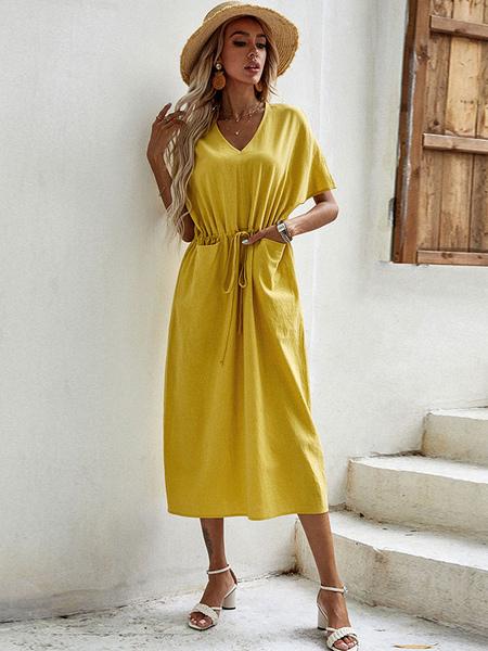 Clothing & Accessories|Yoga Shift Dresses Yellow V-Neck Short Sleeves Fantastic Drawstring Polyester Oversized Tunic Dress