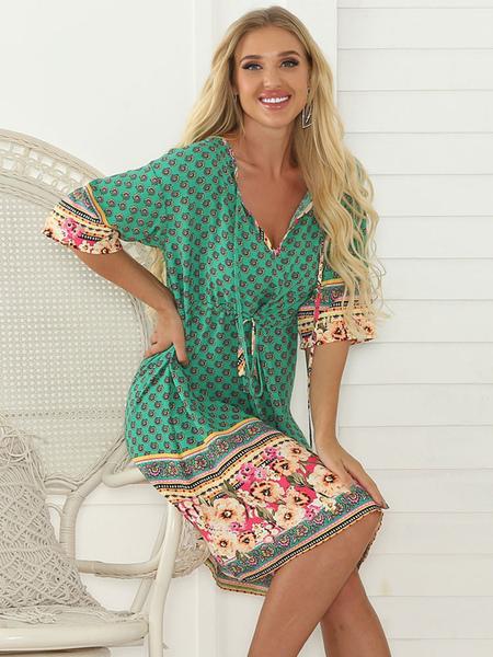 Vêtements Mode féminine Robes et jupes Robe boho col en v demi-manches à manches florales imprimé polyester genou longueur robe de plage