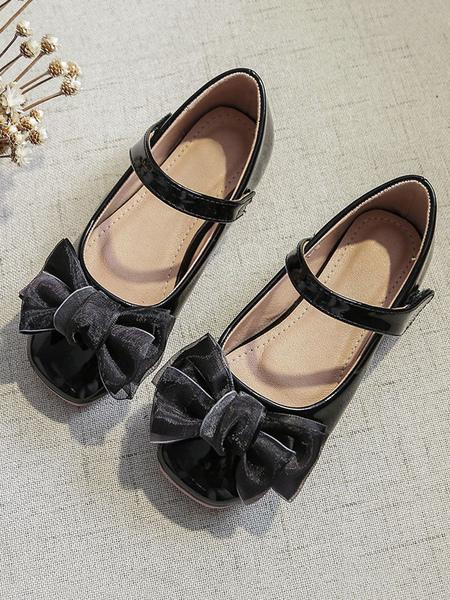 Milanoo Flower Girl Shoes White PU Leather Bows Chaussures de soirée pour enfants