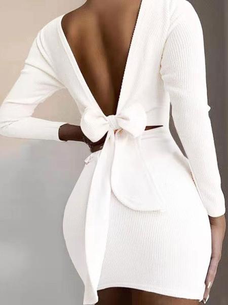 Mini Dresses White Jewel Neck Long Sleeves Polyester Bodycon Short Dress