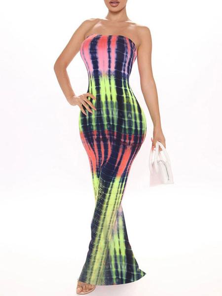 Bodycon Dresses Red Stripes Pattern Sleeveless Pleated Sexy Strapless Layered Slim Fit Dress Sheath Dress