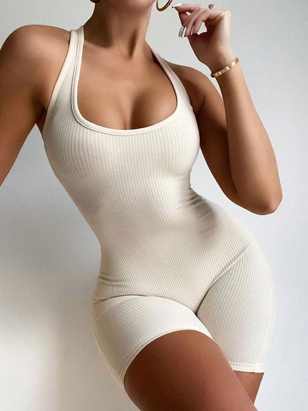 Image of Tuta corta bianca Gioiello collo senza maniche Spalline senza schienale in poliestere Tuta corta estiva attillata Skinny