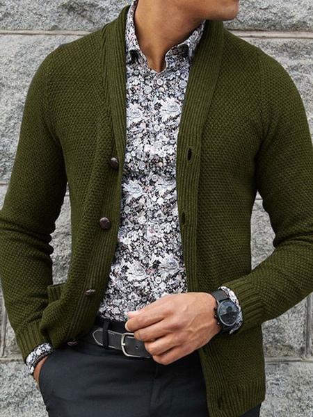 Milanoo Vêtements pour hommes Cardigan pour hommes Pulls pour hommes Cardigans pour hommes Chic Manc
