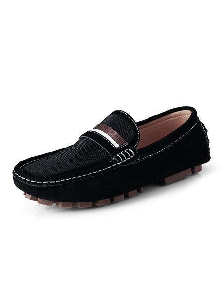 S Mocassins Chaussures Slip-On Bout Rond Talon Plat PU Cuir Mocassins - Milanoo FR - Modalova