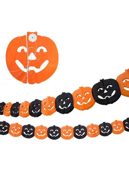 Image of Decorazioni di Halloween Ghirlanda di carta di carta zucca gialla