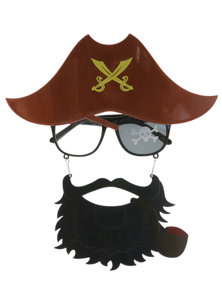 Halloween Pirate Decorations Coffee Brown Polyester Fiber Hat Glasses Beard Holiday Pirate Decorations Full Set