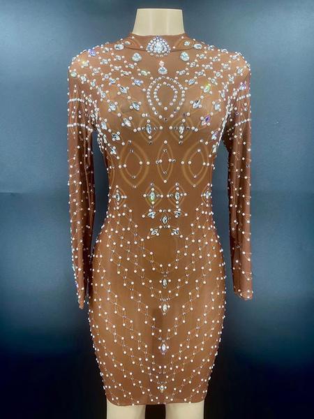 Jazz Dance Costumes For Women Lycra Spandex Dress Light Brown Dancing Wear