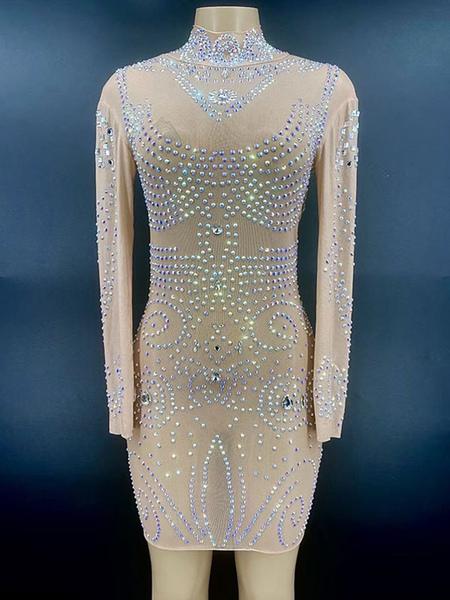 Jazz Dance Costumes For Women Lycra Spandex Dress Flesh Color Dancing Wear