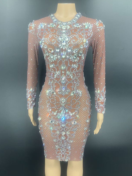 Jazz Dance Costumes For Women Lycra Spandex Dress Chestnut Dancing Wear