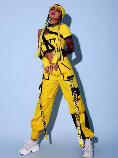 Jazz Dance Costumes For Women Polyester PantsTopGloves 3-Piece Yellow Dancing Wear