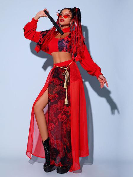Jazz Dance Costumes For Women Polyester CorsetOvercoatSplit SkirtSash 4-Piece Set Dancing Wear