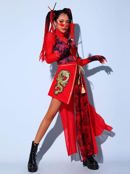 Jazz Dance Costumes For Women Polyester ApronJumpsuitSash 3-Piece Set Dancing Wear