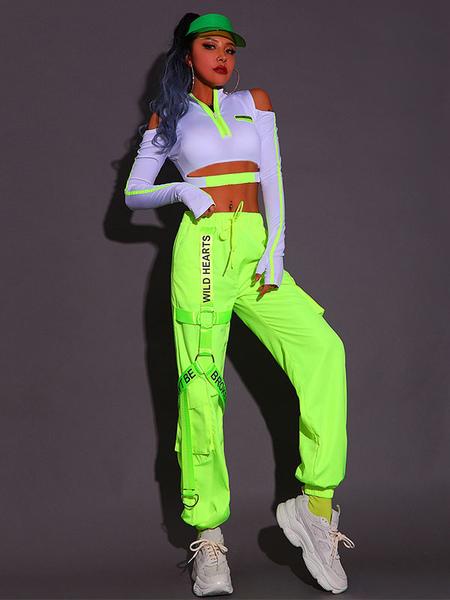 Jazz Dance Costumes For Women Grass Green Polyester TopPants 2-Piece Set Dancing Wear