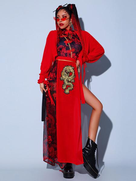 Jazz Dance Costumes For Women Chiffon ApronJumpsuitOvercoatSash 4-Piece Set Dancing Wear