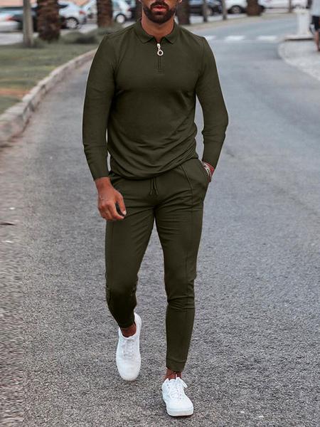 Milanoo Vêtements de sport pour hommes 2 pièces à manches longues et col rabattu noir