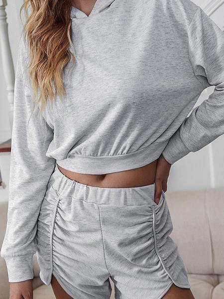 Milanoo Deux pièces ensembles gris clair polyester plissé short décontracté printemps manches longue
