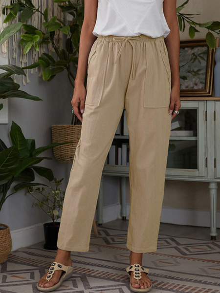 Women Pants Khaki Lace Up P...