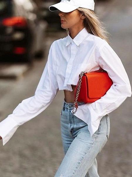 Shirt For Women White Polye...