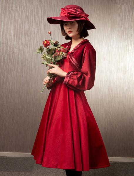 Sweet Lolita Dress Outfits Velour Long Sleeves JumperTop Dress 2pcs Set