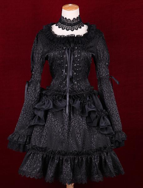 Black Satin Square Neck Long Sleeves Ruffles Gothic Lolita Dress фото
