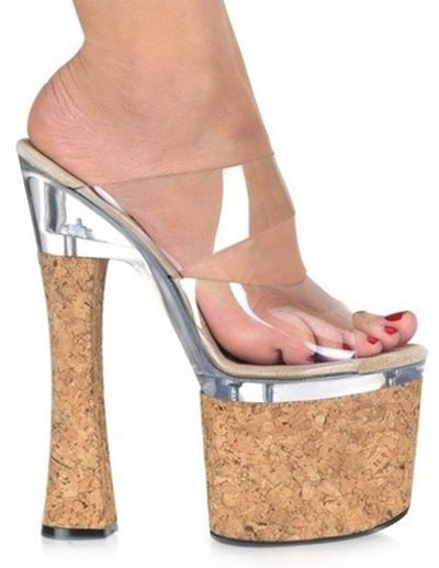 Wood Heel Clear PU Womens Sexy Sandals фото