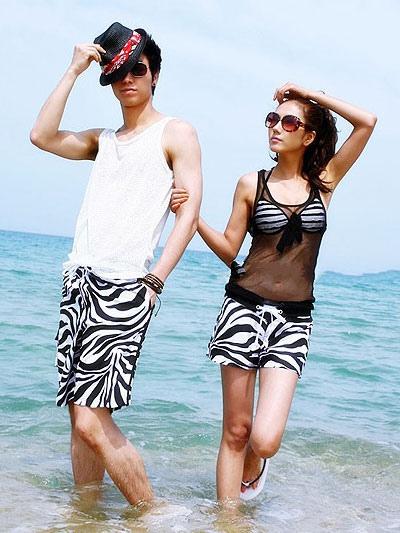 Свободные пляжные шорты из лайкры черная полоса зебры мужские