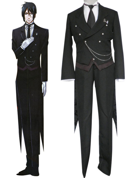 Black Butler Kuroshitsuji Sebastian Michaelis Halloween Cosplay Costume фото