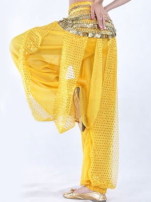 Belly Dance Costume Pants Yellow Rayon Bollywood Dance Bottom фото