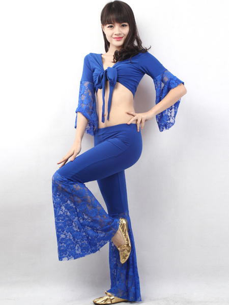 Blue Short Pattern Lace Decoration Cotton Blend Womens Belly Dance Outfit фото