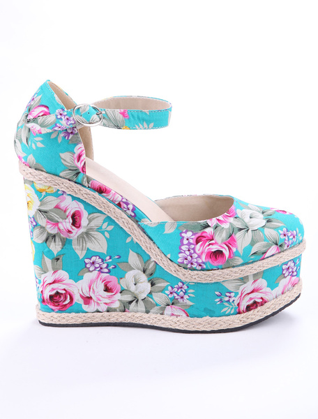 Blue Ankle Strap Round Toe Floral Cloth Women's Wedge Shoes