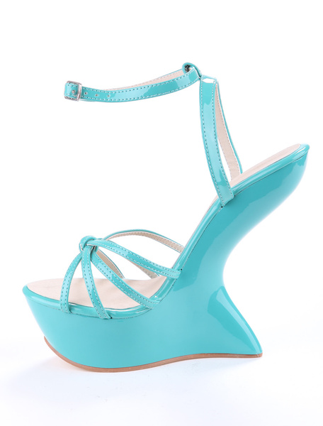 Blue Ankle Strap Knotted Buckle Glazed PU Women's Wedge Sandals