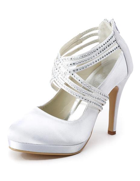 White Pointed Toe Platform Beading Satin Bridal Wedding Shoes