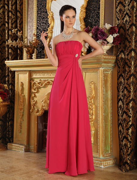 Red Strapless Rhinestone Chiffon Bridesmaid Dress фото