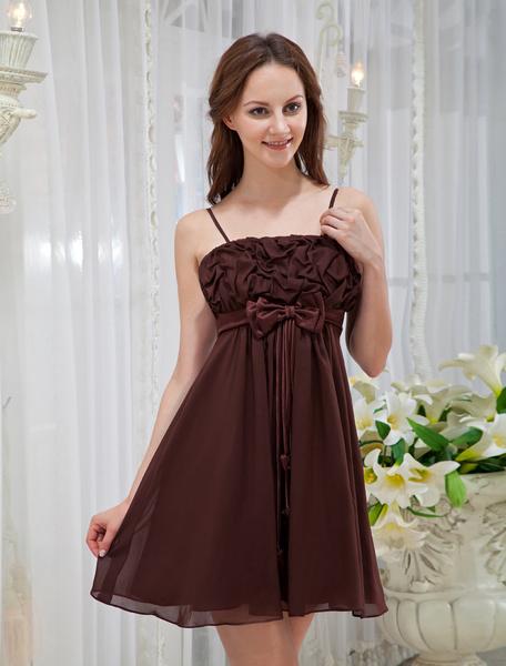 Brown Spagheti Bow Knee Length Chiffon Cocktail Dress