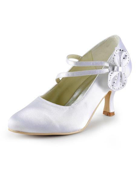 White Round Toe Bow Satin Faux Fur Bridal Shoes фото