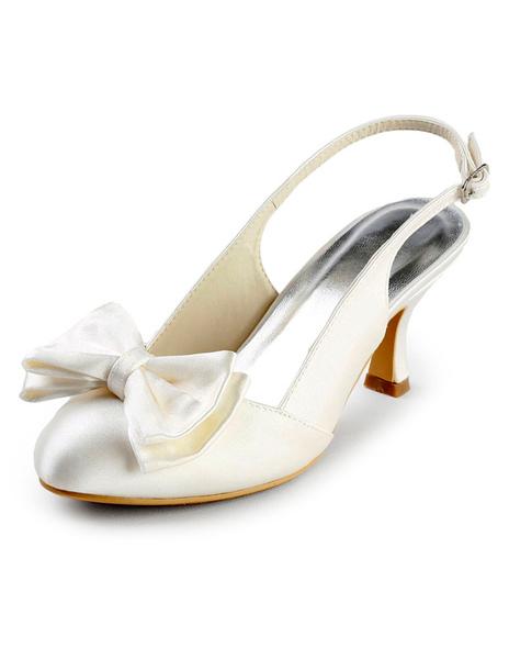 Grace Ivory Satin Bow Slingback Bridal Sandals фото