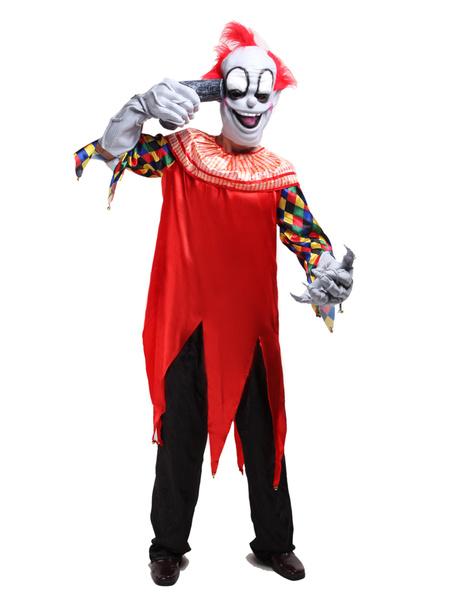 Halloween Red Clown Costume Horrible Circus Costume Cosplay фото