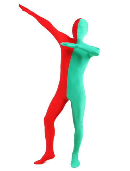 Red & Green Split Zentai Suit Halloween Lycra Spandex Full Bodysuit фото