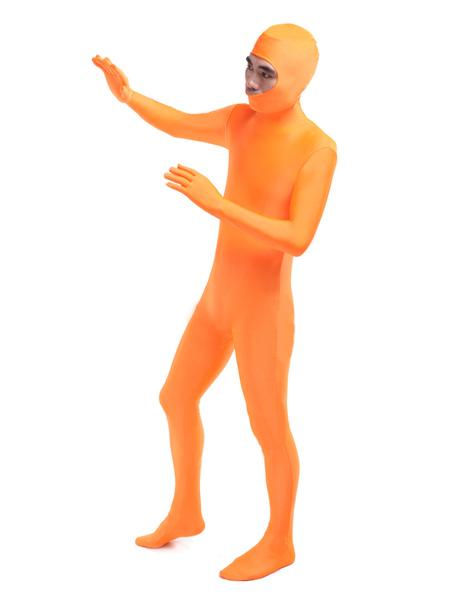 Orange Leotard Bodysuit Open Face Lycra Spandex Unisex Unicolor Costume Morphsuits фото