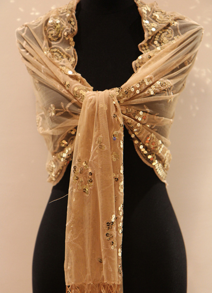 Gold Tassels Satin Polyester Bridal Wedding Shawl фото