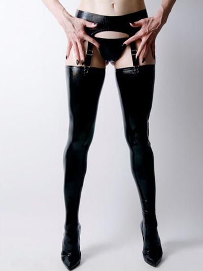 Halloween Sexy Black Latex Women's Stockings фото