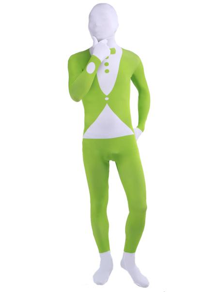 Halloween Trendy Green Tuxedo Pattern Lycra Multicolor Zentai фото