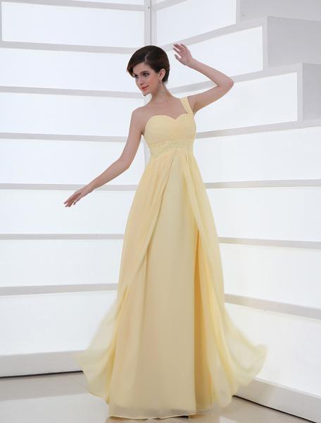 Daffodil Beading Chiffon Homecoming Dress with Empire Waist Milanoo
