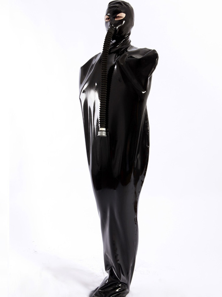 Halloween Shiny Black Zentai Latex Unisex Sleevesless Unique Costume фото