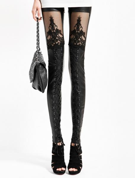 Black Spandex Fashion Leggings фото