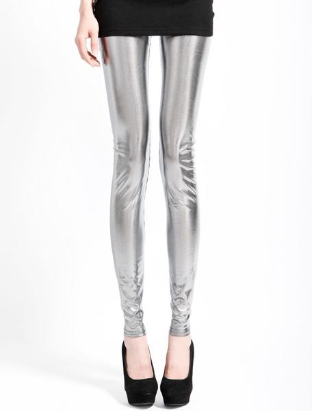 Glitter Silver Spandex Leggings фото